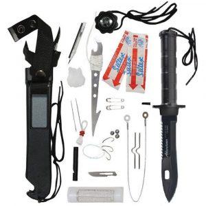 Cuchillo Jungle King en acero inoxidable con kit de supervivencia Basic